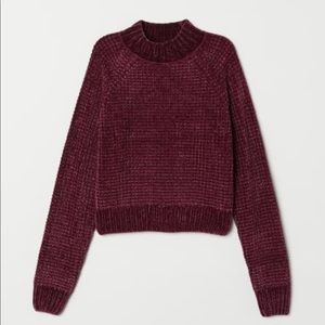H&M ribbed knit sweater burgundy/chenille XS